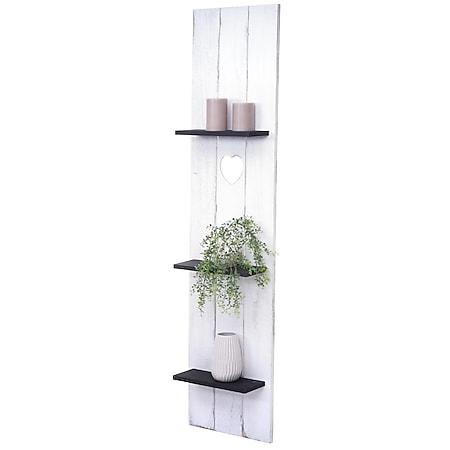 Wandregal MCW-C92, Wandpaneel Holzregal Regal, 3 Ebenen 150x33x13cm Massivholz Vintage ~ weiß/dunkelgrau shabby - Bild 1