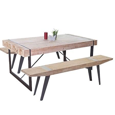 Esszimmergarnitur MCW-A15b, Esstisch + 2x Sitzbank, Tanne Holz rustikal massiv 160cm - Bild 1