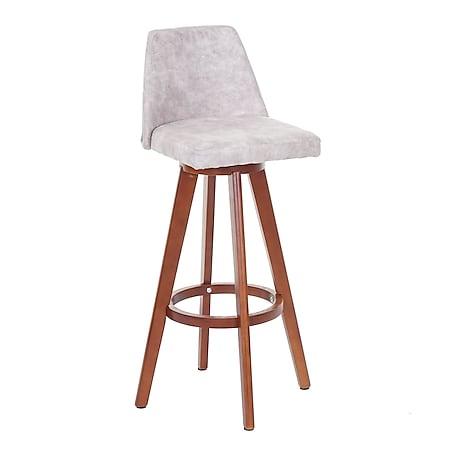 Barhocker MCW-C43, Barstuhl Tresenhocker, Holz Textil drehbar ~ Vintage hellgrau, helle Beine - Bild 1
