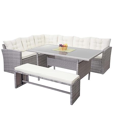 Poly-Rattan-Garnitur MCW-A29, Gartengarnitur Sitzgruppe Lounge-Esstisch-Set Sofa ~ hellgrau, Kissen creme + Bank - Bild 1