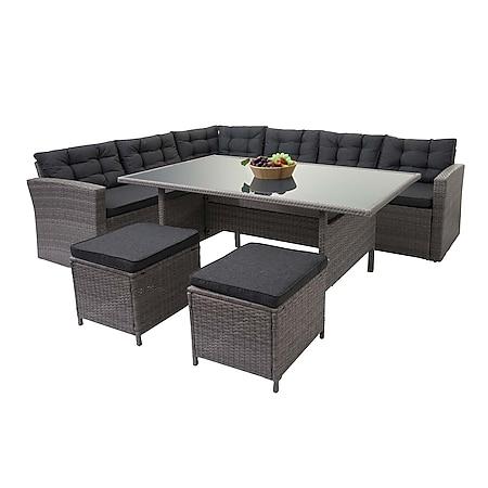 Poly-Rattan-Garnitur MCW-A29, Gartengarnitur Sitzgruppe Lounge-Esstisch-Set Sofa ~ grau, Kissen grau + 2x Hocker - Bild 1