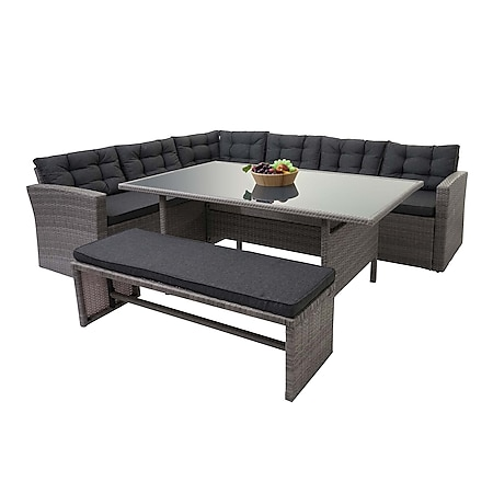 Poly-Rattan-Garnitur MCW-A29, Gartengarnitur Sitzgruppe Lounge-Esstisch-Set Sofa ~ grau, Kissen grau + Bank - Bild 1