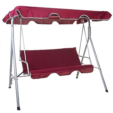 Hollywoodschaukel MCW-D61, Gartenschaukel Hängeschaukel Bank, 3-Sitzer UV 50+ verstellbares Dach 197x185cm ~ bordeaux - Bild 1