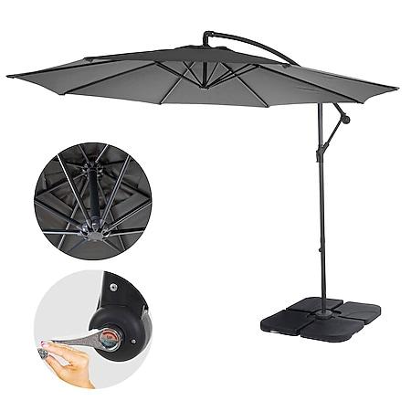 Ampelschirm Terni, Sonnenschirm Sonnenschutz, Ø 3m neigbar, Polyester/Stahl 11kg ~ grau mit Ständer - Bild 1