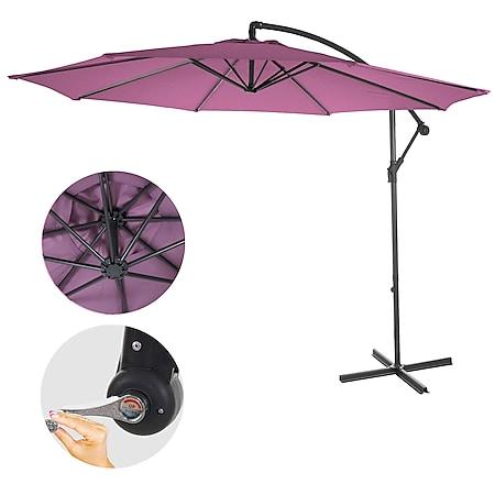 Ampelschirm Terni, Sonnenschirm Sonnenschutz, Ø 3m neigbar, Polyester/Stahl 11kg ~ lavendel-rot ohne Ständer - Bild 1