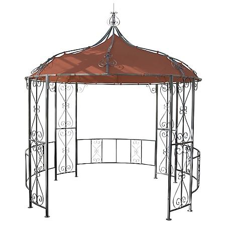 Pergola Cabrera, Rundpavillon Garten Pavillon, stabiles Stahl-Gestell Ø 3m ~ terrakotta-braun - Bild 1
