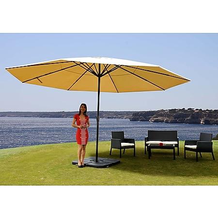 Sonnenschirm Carpi Pro, Gastronomie Marktschirm ohne Volant Ø 5m Polyester/Alu 28kg ~ creme mit Ständer - Bild 1