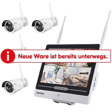 Inkovideo INKO-AL3003-4 Full HD WLAN Überwachungsset mit integriertem 30,48cm (12 Zoll) Monitor und 4 Überwachungskameras - Bild 1