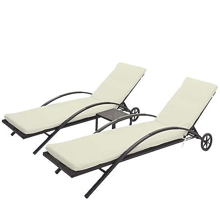 2x Sonnenliege MCW-E27, Relaxliege Gartenliege, Poly-Rattan ~ braun, Kissen creme-beige - Bild 1