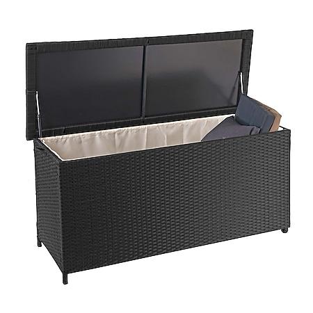 Poly-Rattan Kissenbox MCW-D88, Gartentruhe Auflagenbox Truhe ~ Premium schwarz, 63x135x52cm 320l - Bild 1