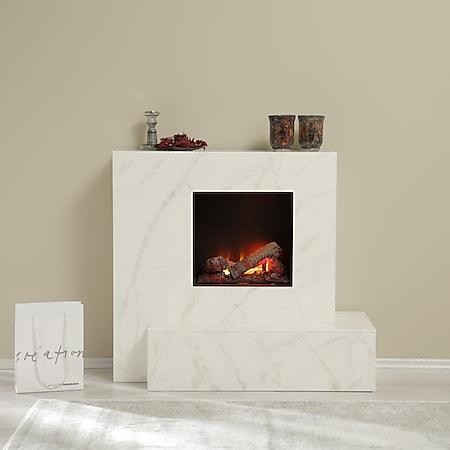 Albero Möbel Elektrokamin Casablanca, weiß/beige/grau marmor - Bild 1