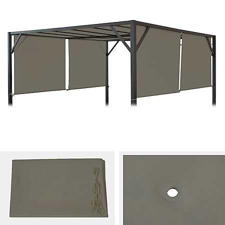 Ersatzbezug für Dach Pergola Pavillon Beja 3x4m ~ taupe - Bild 1