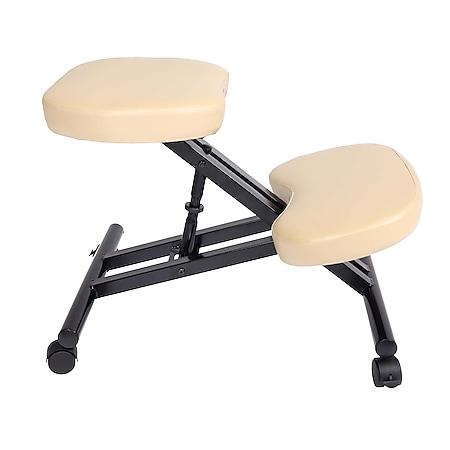 Kniestuhl MCW-E10, Sitzhocker Kniehocker, höhenverstellbar Rollen Kunstleder Metall ~ creme-beige - Bild 1