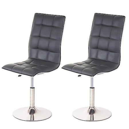 2x Esszimmerstuhl MCW-C41, Stuhl Küchenstuhl, höhenverstellbar drehbar, Fuß gebürstet, Kunstleder ~ grau - Bild 1
