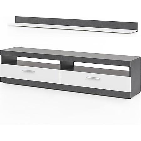 TV-Lowboard mit 2 Fächern und 2 Klappen, inkl. Wandregal, Korpus Graphit Dekor, Fronten Weiß - Bild 1