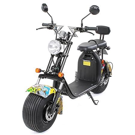 eFlux Chopper Two Elektro Scooter mit Straßenzulassung 1500 Watt 60 Volt gelb - Bild 1