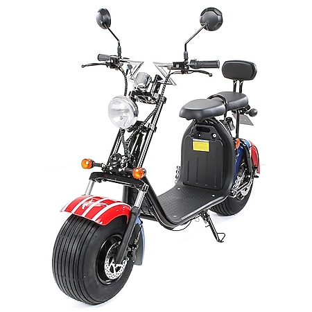 eFlux Chopper Two Elektro Scooter mit Straßenzulassung 1500 Watt 60 Volt US Flagge - Bild 1