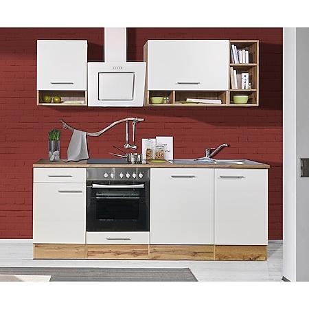 Respekta Küchenzeile BEKB220EWCB 220 cm, Wildeiche Nachbildung, inkl. E- Geräte & Mineralite Einbauspüle, weiß - Bild 1