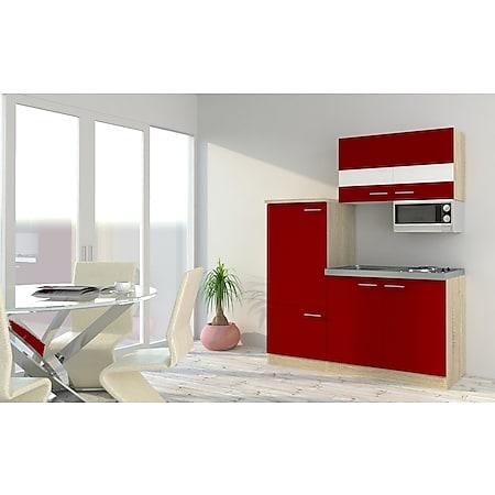 Respekta Economy Küchenzeile KB160ESRMI 160 cm, Rot mit Mikrowelle - Bild 1