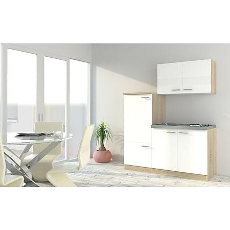 Respekta Economy Küchenzeile KB160ESW 160 cm, Weiß mit Pantryauflage - Bild 1