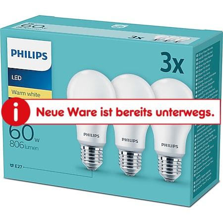 Philips LED Birne E27 60W 3er Pack - Bild 1