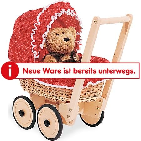 Pinolino Korbpuppenwagen 'Mona', inkl. Bettzeug Dessin 'Pünktchen', rot - Bild 1