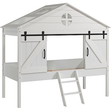 Vipack BARNIE - halbhohes Bett in Scheunen Optik 90 x 200 cm, Weiß lackiert - Bild 1