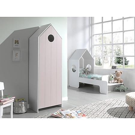 Vipack CASAMI Set 2-teilig - 1x Kinderbett 70 x 140 cm, 1x Schrank 1-türig, Front in Pink - Bild 1