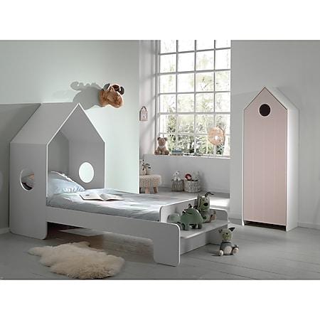 Vipack CASAMI Set 2-teilig - 1x Kinderbett 90 x 200 cm, 1x Schrank 1-türig, Front in Pink - Bild 1