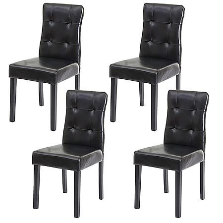 4x Esszimmerstuhl MCW-E58, Stuhl Essstühle ~ Kunstleder schwarz, dunkle Beine - Bild 1