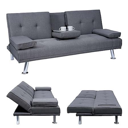 3er-Sofa MCW-F60, Couch Schlafsofa Gästebett, Tassenhalter verstellbar 97x166cm ~ Textil, dunkelgrau - Bild 1