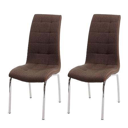2x Esszimmerstuhl MCW-F29, Stuhl Küchenstuhl, Kunstleder Stoff/Textil ~ braun - Bild 1