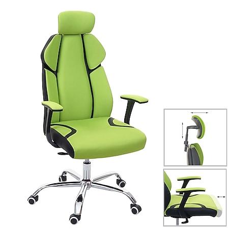 Bürostuhl MCW-F12, Schreibtischstuhl Drehstuhl Racing-Chair, Sliding-Funktion Stoff/Textil + Kunstleder ~ grün/schwarz - Bild 1