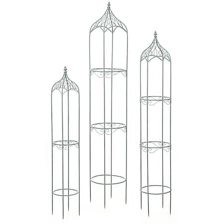 3er Set Rankhilfe MCW-H90, Rankgitter Rosensäule Staudenstütze, Metall Höhe 162/140/114cm rund antik-grün - Bild 1