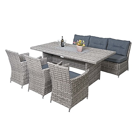 Poly-Rattan Sitzgruppe MCW-G59, Gartengarnitur Sofa Lounge-Set, 200x100cm ~ grau, Kissen dunkelgrau - Bild 1