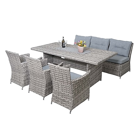 Poly-Rattan Sitzgruppe MCW-G59, Gartengarnitur Sofa Lounge-Set, 200x100cm ~ grau, Kissen hellgrau - Bild 1