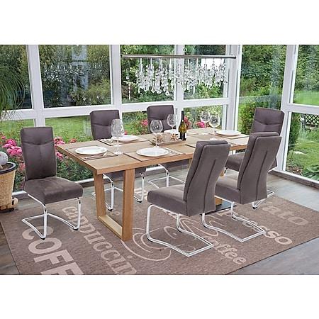 6x Esszimmerstuhl MCW-G56, Küchenstuhl Freischwinger Stuhl, Textil Wildleder-Optik ~ grau - Bild 1