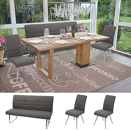 Set 2x Esszimmerstuhl+Sitzbank MCW-G55, Bank Küchenstuhl Stuhl, Stoff/Textil Edelstahl ~ grau Bank 160cm - Bild 1