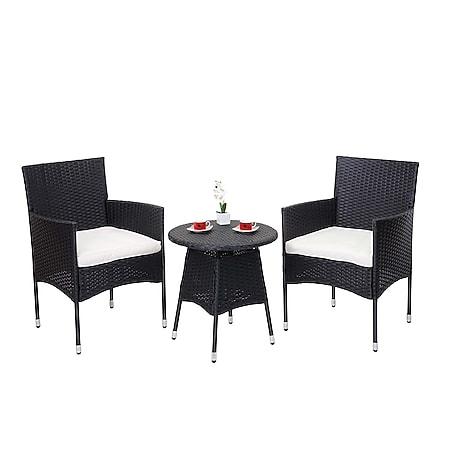 Poly-Rattan Balkonset MCW-G27, Sitzgarnitur Gartengarnitur Sitzgruppe, 2xSessel+Tisch ~ anthrazit, Kissen creme - Bild 1