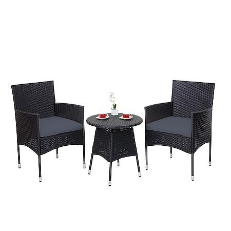 Poly-Rattan Balkonset MCW-G27, Sitzgarnitur Gartengarnitur Sitzgruppe, 2xSessel+Tisch ~ anthrazit, Kissen grau - Bild 1