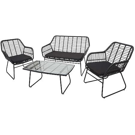 Polyrattan Garnitur MCW-G17a, Gartengarnitur Sofa Set Sitzgruppe ~ anthrazit, Polster anthrazit ohne Dekokissen - Bild 1