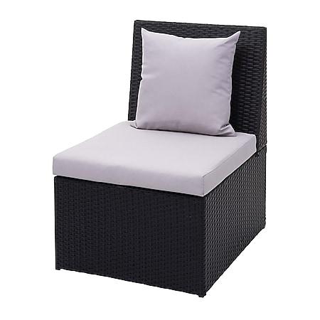 Poly-Rattan Sessel MCW-G16, Lounge-Rattanstuhl Gartenstuhl, Gastronomie ~ schwarz, Kissen hellgrau - Bild 1