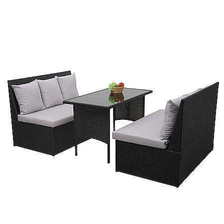 Poly-Rattan Garnitur MCW-G16, Garten-/Lounge-Set Sitzgruppe, Gastronomie 2x2er Sofa Tisch ~ schwarz, Kissen hellgrau - Bild 1
