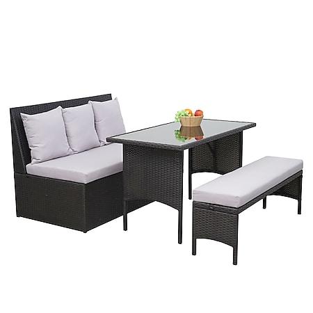 Poly-Rattan Garnitur MCW-G16, Garten-/Lounge-Set Sitzgruppe, Gastronomie 2er Sofa Tisch Bank ~ schwarz, Kissen hellgrau - Bild 1