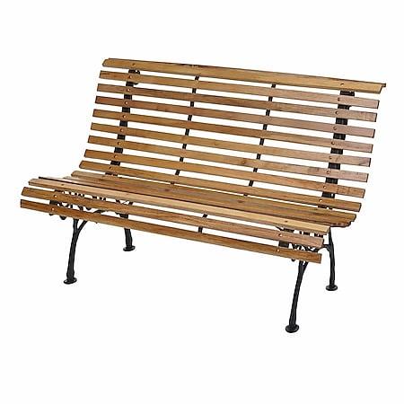 Gartenbank MCW-F97, Sitzbank Parkbank Holzbank, 3-Sitzer Gusseisen Holz 160cm 26kg ~ hellbraun - Bild 1