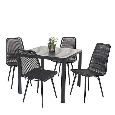 Gartengarnitur MCW-F90, Sitzgruppe Balkon-/Lounge-Set, WPC-Tischplatte 4xPoly-Rattan Stuhl+Tisch 90x90cm ~ schwarz - Bild 1