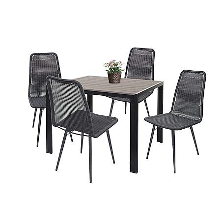 Gartengarnitur HWC-F90, Sitzgruppe Balkon-/Lounge-Set, WPC-Tischplatte 4xPoly-Rattan Stuhl+Tisch 90x90cm ~ grau - Bild 1