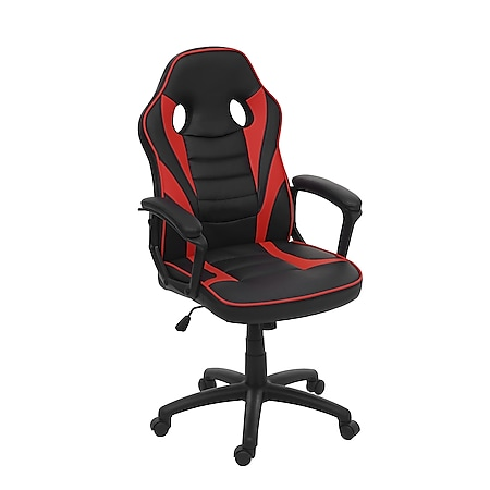 Bürostuhl MCW-F59, Schreibtischstuhl Drehstuhl Racing-Chair Gaming-Chair, Kunstleder ~ schwarz/rot - Bild 1