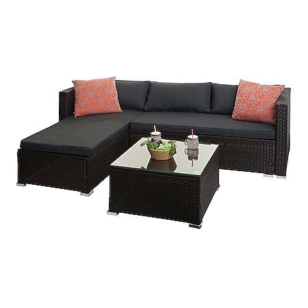 Poly-Rattan Garnitur MCW-F57, Balkon-/Garten-/Lounge-Set Sofa Sitzgruppe ~ braun, Kissen dunkelgrau mit Deko-Kissen - Bild 1