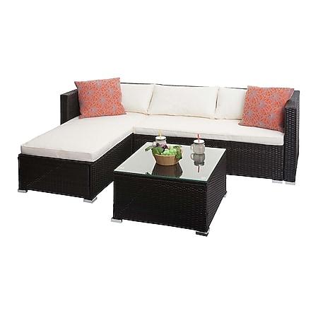 Poly-Rattan Garnitur MCW-F57, Balkon-/Garten-/Lounge-Set Sofa Sitzgruppe ~ braun, Kissen creme mit Deko-Kissen - Bild 1